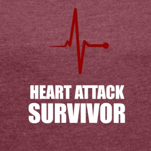 Heart Attack Survivor - Frauen T-Shirt mit gerollten Ärmeln