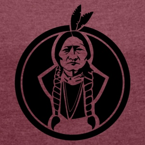 Sitting Bull indian - T-shirt med upprullade ärmar dam