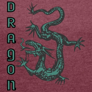 down looking dragon color - Women's T-shirt with rolled up sleeves