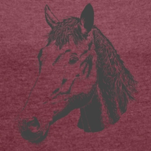 Stallion, horse head, mare, foal, horse - Women's T-shirt with rolled up sleeves