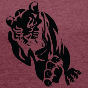 running wild lion black - Women's T-shirt with rolled up sleeves