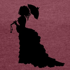 Black Baroque Lady silhouette with umbrella - Women's T-shirt with rolled up sleeves