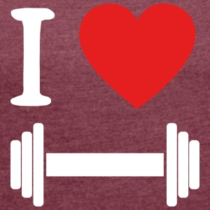 I love dumbbell WHITE - Women's T-shirt with rolled up sleeves