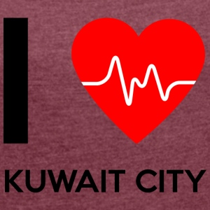 I Love Kuwait City - I love Kuwait City - Women's T-shirt with rolled up sleeves