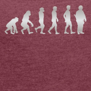 Human evolution - until FIREMAN - Women's T-shirt with rolled up sleeves