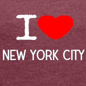 I LOVE NEW YORK CITY - T-skjorte med rulleermer for kvinner