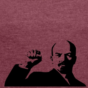 lenin stencil - Women's T-shirt with rolled up sleeves