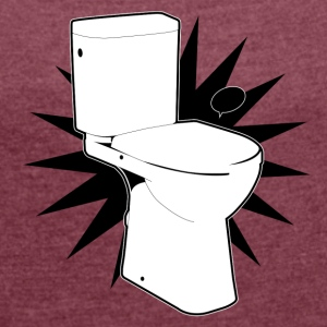 Vector toilet (toilet Super) - Women's T-shirt with rolled up sleeves