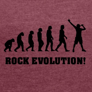 Singing Evolution, gift for singer - Women's T-shirt with rolled up sleeves