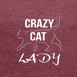 crazy cat lady white - Frauen T-Shirt mit gerollten Ärmeln