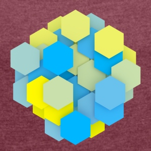 blue yellow shapes - Women's T-shirt with rolled up sleeves