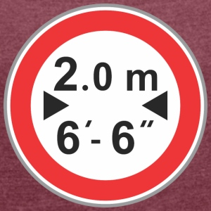 Road sign 2 m - Women's T-shirt with rolled up sleeves