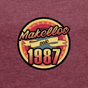 Gift for the 30th birthday - vintage 1987 - Women's T-shirt with rolled up sleeves