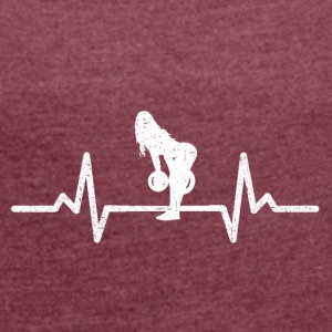 MY HEART BEATS FOR THE PUMP! (GYM WOMAN!) - Women's T-shirt with rolled up sleeves