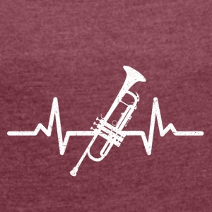 My heart beats for the trumpet - Women's T-shirt with rolled up sleeves