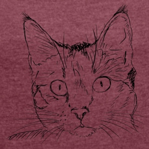 Cat black - Women's T-shirt with rolled up sleeves
