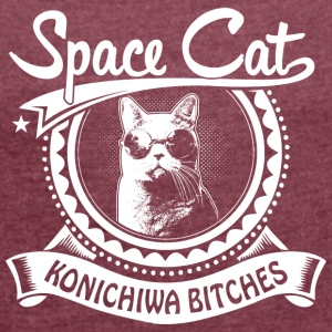 Space Cat - Dame T-shirt med rulleærmer