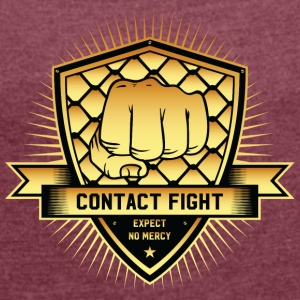 Contact Fight Gold - Frauen T-Shirt mit gerollten Ärmeln