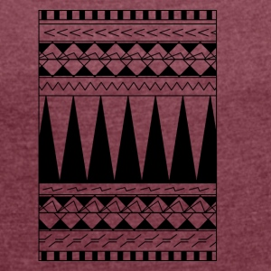 Tattoo Maori tribe line - Women's T-shirt with rolled up sleeves