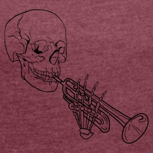 Skeleton with Trumpet - Frauen T-Shirt mit gerollten Ärmeln