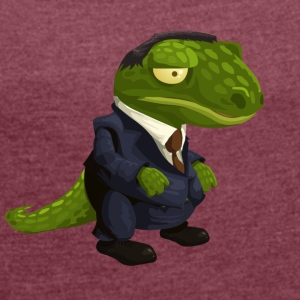 Evil crocodile in suit - Women's T-shirt with rolled up sleeves