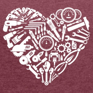 mechanic heart - Women's T-shirt with rolled up sleeves