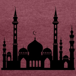 Mosque / Mosque in Arabia Crescent & Star - Women's T-shirt with rolled up sleeves