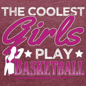 COOLEST GIRLS PLAY BASKETBALL - Frauen T-Shirt mit gerollten Ärmeln