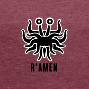 R'Amen, with stroke - Women's T-shirt with rolled up sleeves