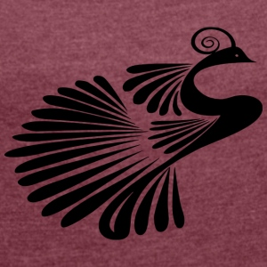 Peacock - Silhouette - Women's T-shirt with rolled up sleeves