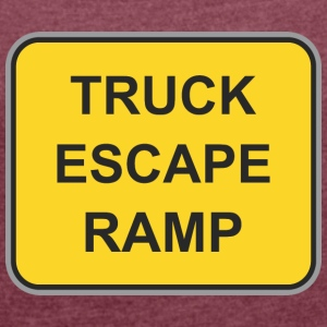 Road sign truck escape ramp - Women's T-shirt with rolled up sleeves