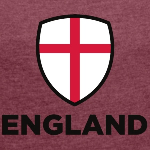 National Flag Of England - Dame T-shirt med rulleærmer