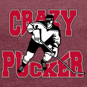 Hockey Crazy Pucker - T-skjorte med rulleermer for kvinner
