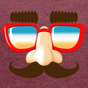 stuffing and catches mustache nose glasses - Women's T-shirt with rolled up sleeves