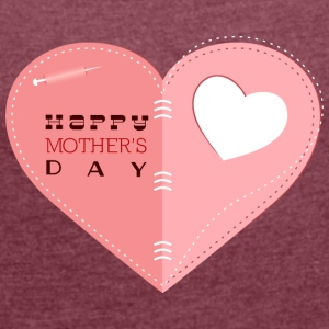 happy mother s day heart with heart - Women's T-shirt with rolled up sleeves