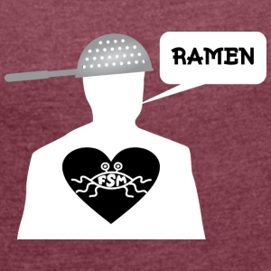 Ramen Pastafarian in heart white - Women's T-shirt with rolled up sleeves