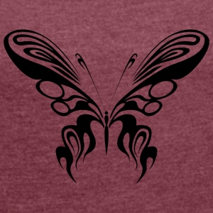 Tribal Tattoo Schmetterling / Butterfly / Falter - Frauen T-Shirt mit gerollten Ärmeln