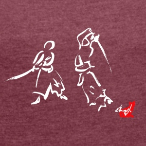 Drawing Japanese sword - Women's T-shirt with rolled up sleeves