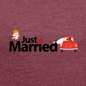 just Married - T-shirt med upprullade ärmar dam