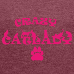 CRAZY PINK Catlady - Women's T-shirt with rolled up sleeves