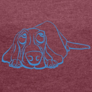 Basset got the Blues - Women's T-shirt with rolled up sleeves