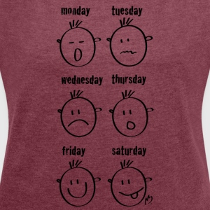 Weekdays Smilies - Women's T-shirt with rolled up sleeves