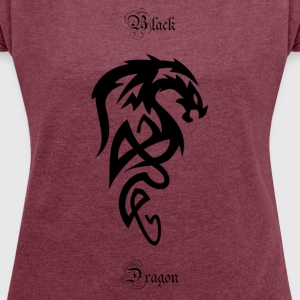 Tribal dragon - Women's T-shirt with rolled up sleeves