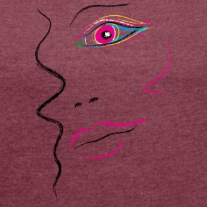 Face woman creative - Women's T-shirt with rolled up sleeves