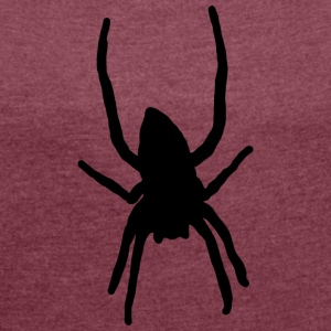 Black spider - Women's T-shirt with rolled up sleeves