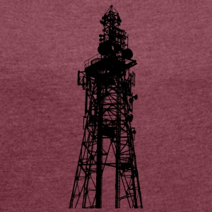 Large transmission / TV Tower silhouetted - Women's T-shirt with rolled up sleeves