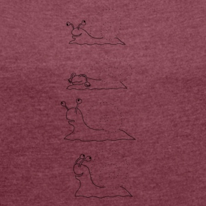 Four snails - Women's T-shirt with rolled up sleeves