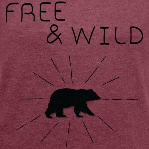 Free & Wild - T-shirt à manches retroussées Femme