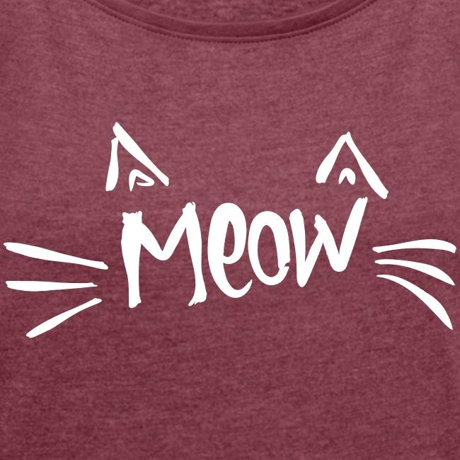 Vorschau: meow2 - Frauen T-Shirt mit gerollten Ärmeln