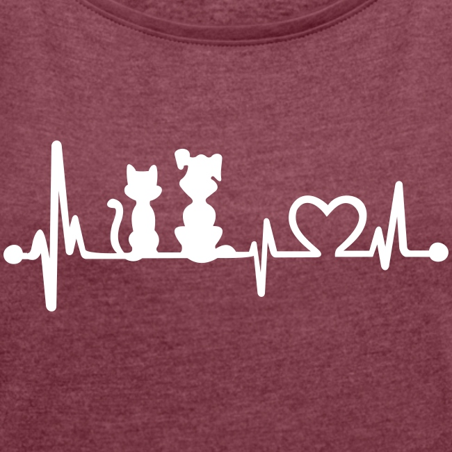 dog cat heartbeat - Frauen T-Shirt mit gerollten Ärmeln